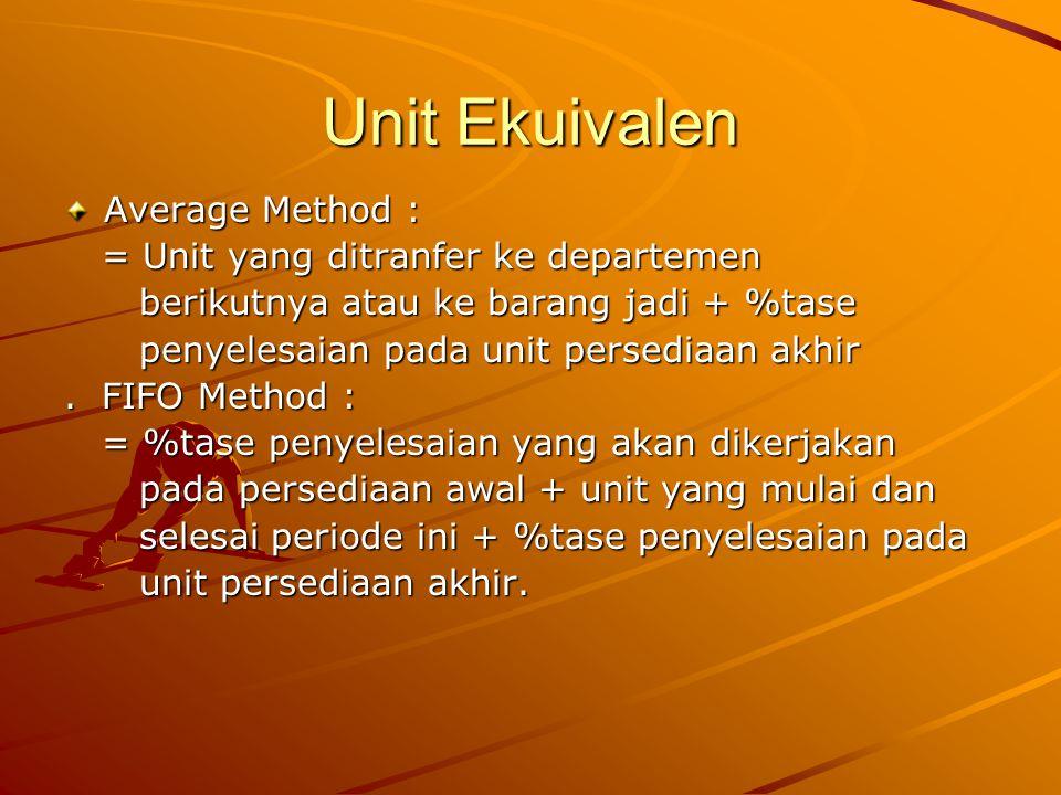 Unit Ekuivalen Average Method : = Unit yang ditranfer ke departemen = Unit yang ditranfer ke departemen berikutnya atau ke barang jadi + %tase berikutnya atau ke barang jadi + %tase penyelesaian pada unit persediaan akhir penyelesaian pada unit persediaan akhir.