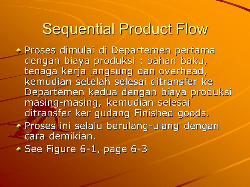 Sequential Product Flow Proses dimulai di Departemen pertama dengan biaya produksi : bahan baku, tenaga kerja langsung dan overhead, kemudian setelah selesai ditransfer ke Departemen kedua dengan biaya produksi masing-masing, kemudian selesai ditransfer ker gudang Finished goods.