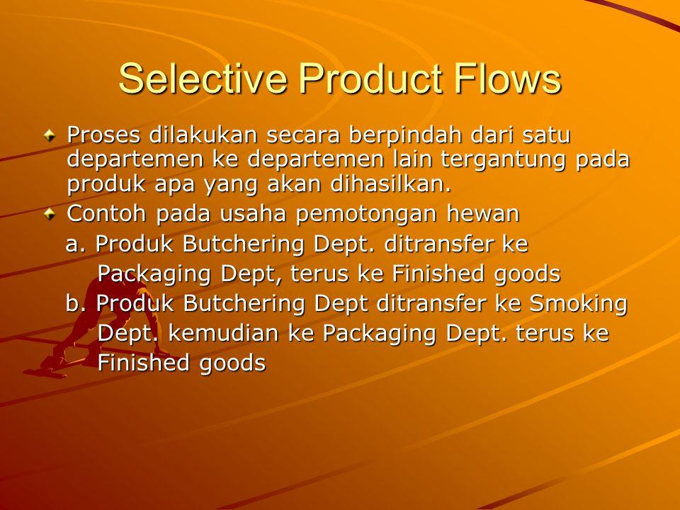 Selective Product Flows Proses dilakukan secara berpindah dari satu departemen ke departemen lain tergantung pada produk apa yang akan dihasilkan.