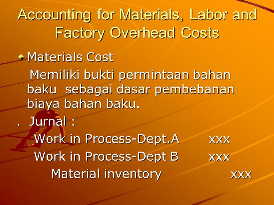 Accounting for Materials, Labor and Factory Overhead Costs Materials Cost Memiliki bukti permintaan bahan baku sebagai dasar pembebanan biaya bahan baku.