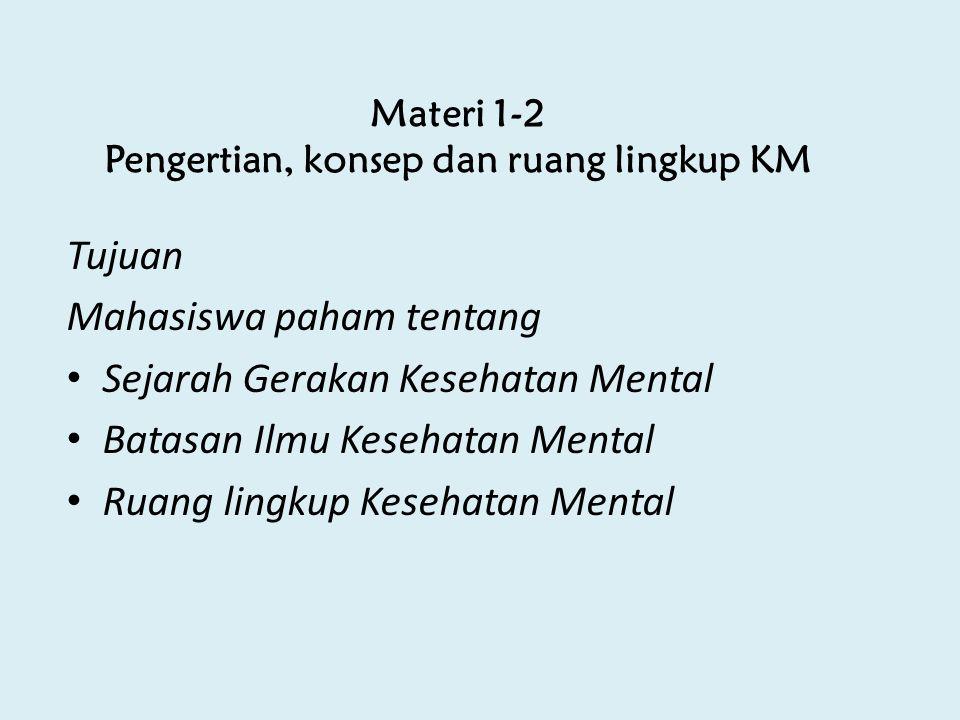 Materi 1-2 Pengertian, konsep dan ruang lingkup KM Tujuan Mahasiswa paham tentang Sejarah Gerakan Kesehatan Mental Batasan Ilmu Kesehatan Mental Ruang