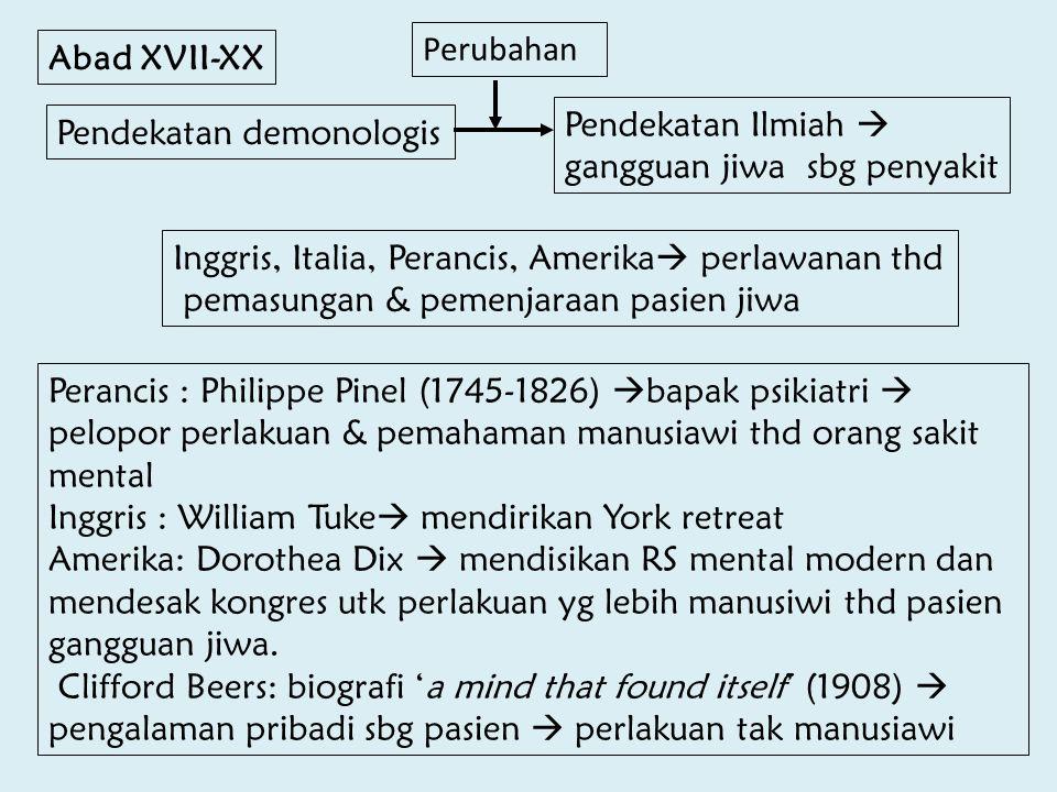 Abad XVII-XX Pendekatan demonologis Pendekatan Ilmiah  gangguan jiwa sbg penyakit Inggris, Italia, Perancis, Amerika  perlawanan thd pemasungan & pe