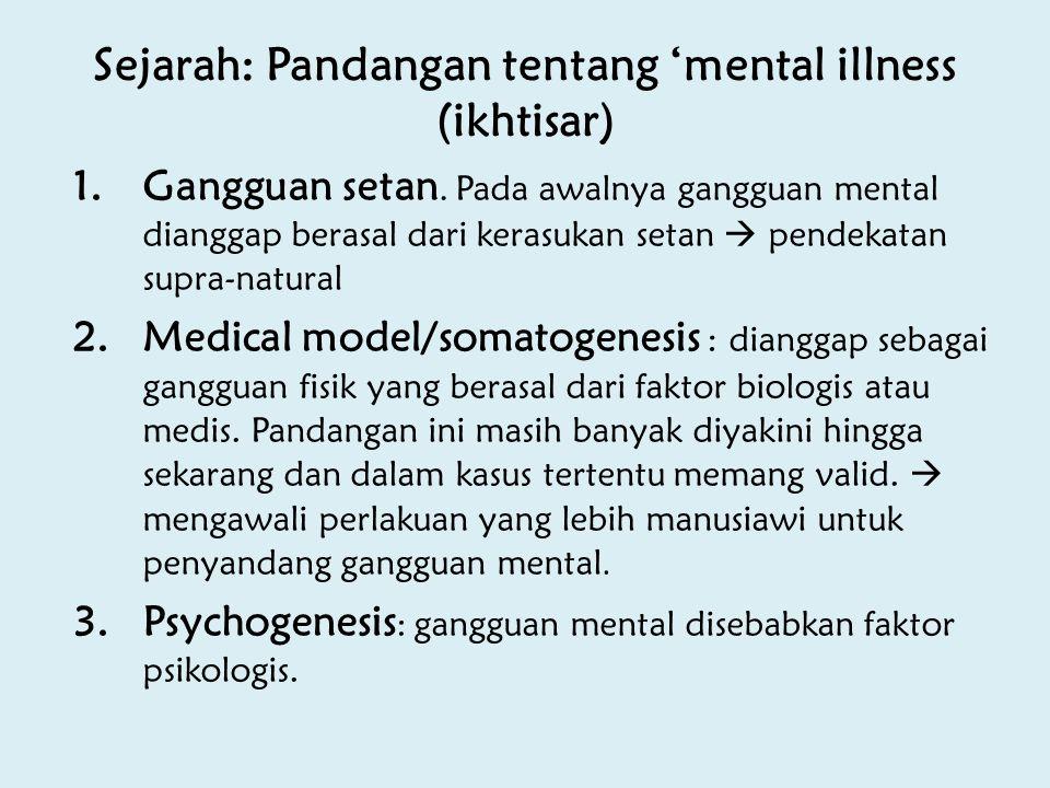 Sejarah: Pandangan tentang 'mental illness (ikhtisar) 1.Gangguan setan. Pada awalnya gangguan mental dianggap berasal dari kerasukan setan  pendekata