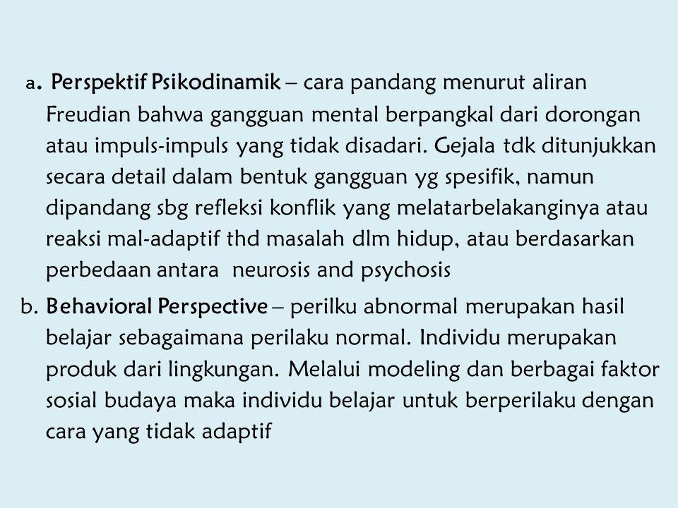 a. Perspektif Psikodinamik – cara pandang menurut aliran Freudian bahwa gangguan mental berpangkal dari dorongan atau impuls-impuls yang tidak disadar