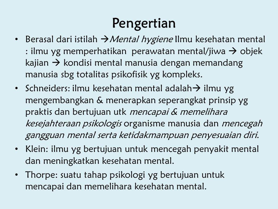 Pengertian Berasal dari istilah  Mental hygiene Ilmu kesehatan mental : ilmu yg memperhatikan perawatan mental/jiwa  objek kajian  kondisi mental m