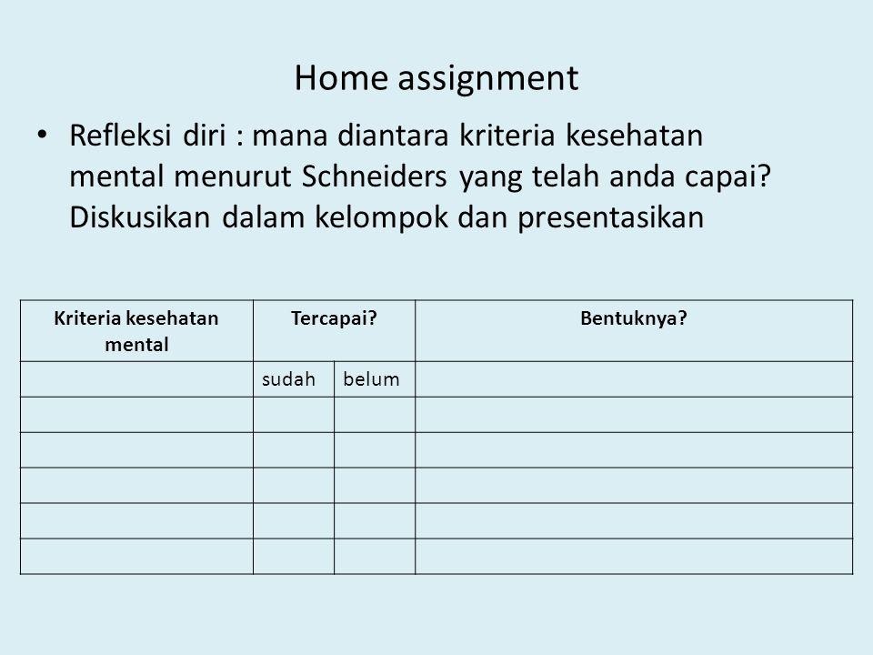 Home assignment Refleksi diri : mana diantara kriteria kesehatan mental menurut Schneiders yang telah anda capai? Diskusikan dalam kelompok dan presen