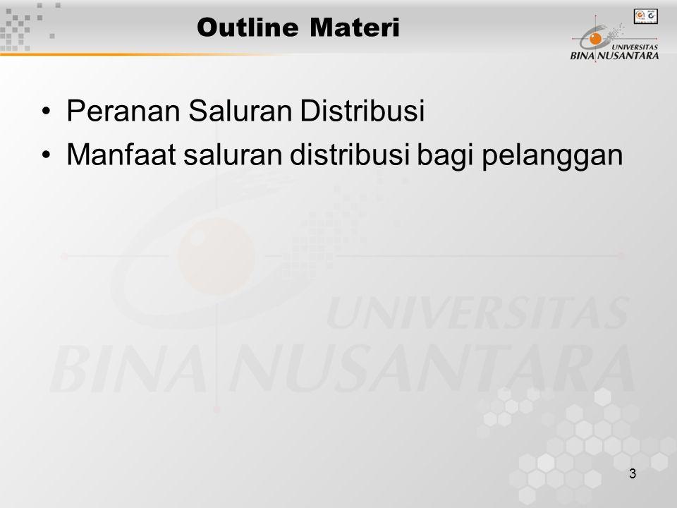 3 Outline Materi Peranan Saluran Distribusi Manfaat saluran distribusi bagi pelanggan