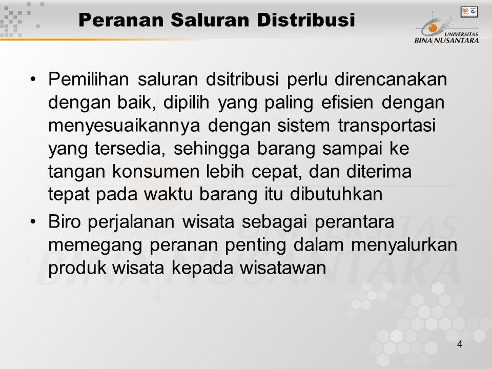 4 Peranan Saluran Distribusi Pemilihan saluran dsitribusi perlu direncanakan dengan baik, dipilih yang paling efisien dengan menyesuaikannya dengan si