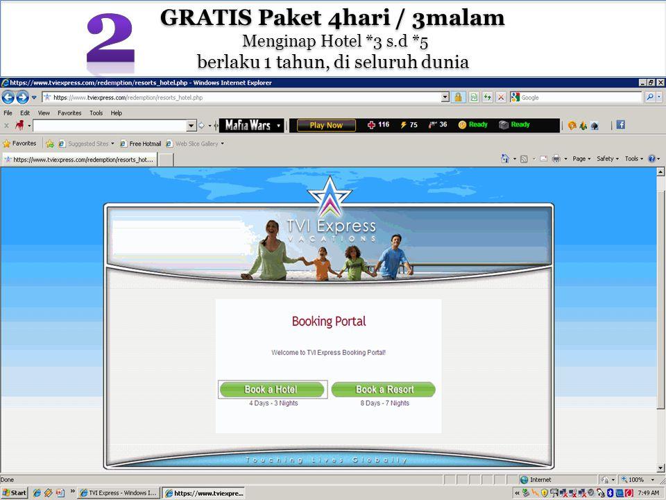 GRATIS Paket 4hari / 3malam Menginap Hotel *3 s.d *5 berlaku 1 tahun, di seluruh dunia GRATIS Paket 4hari / 3malam Menginap Hotel *3 s.d *5 berlaku 1 tahun, di seluruh dunia