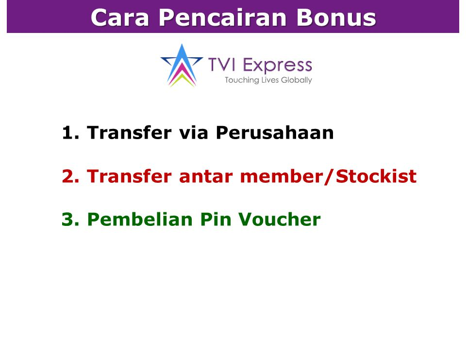 1. Transfer via Perusahaan 2. Transfer antar member/Stockist 3. Pembelian Pin Voucher Cara Pencairan Bonus