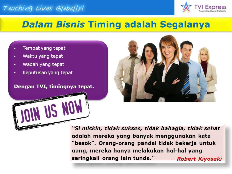Dalam Bisnis Timing adalah Segalanya Tempat yang tepat Waktu yang tepat Wadah yang tepat Keputusan yang tepat Dengan TVI, timingnya tepat.