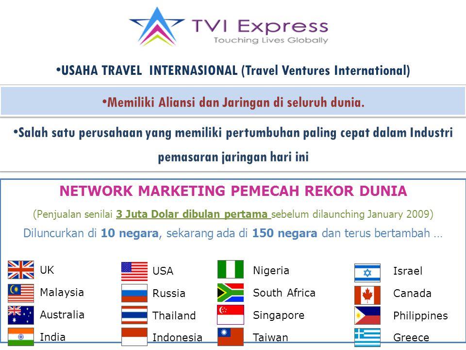 USAHA TRAVEL INTERNASIONAL (Travel Ventures International) Salah satu perusahaan yang memiliki pertumbuhan paling cepat dalam Industri pemasaran jaringan hari ini Memiliki Aliansi dan Jaringan di seluruh dunia.