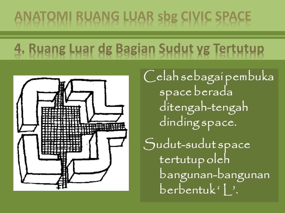 Celah sebagai pembuka space berada ditengah-tengah dinding space. Sudut-sudut space tertutup oleh bangunan-bangunan berbentuk ' L'.