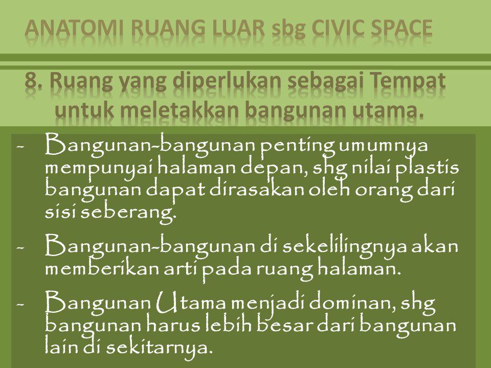-Bangunan-bangunan penting umumnya mempunyai halaman depan, shg nilai plastis bangunan dapat dirasakan oleh orang dari sisi seberang. -Bangunan-bangun