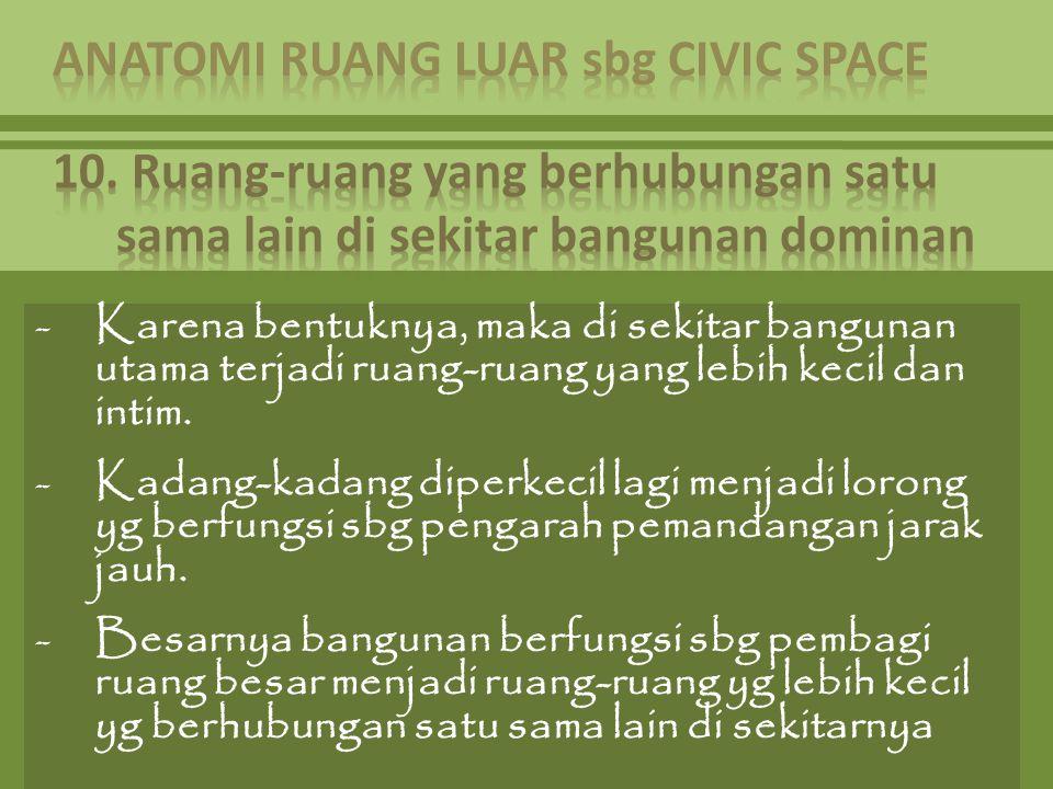 -Karena bentuknya, maka di sekitar bangunan utama terjadi ruang-ruang yang lebih kecil dan intim. -Kadang-kadang diperkecil lagi menjadi lorong yg ber
