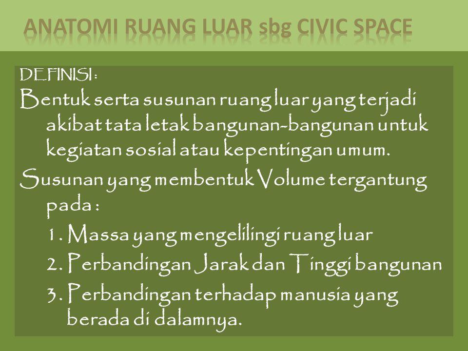 DEFINISI : Bentuk serta susunan ruang luar yang terjadi akibat tata letak bangunan-bangunan untuk kegiatan sosial atau kepentingan umum. Susunan yang