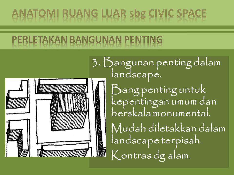 3. Bangunan penting dalam landscape. Bang penting untuk kepentingan umum dan berskala monumental. Mudah diletakkan dalam landscape terpisah. Kontras d