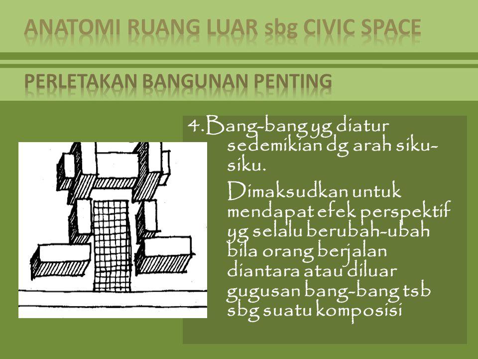 4.Bang-bang yg diatur sedemikian dg arah siku- siku. Dimaksudkan untuk mendapat efek perspektif yg selalu berubah-ubah bila orang berjalan diantara at