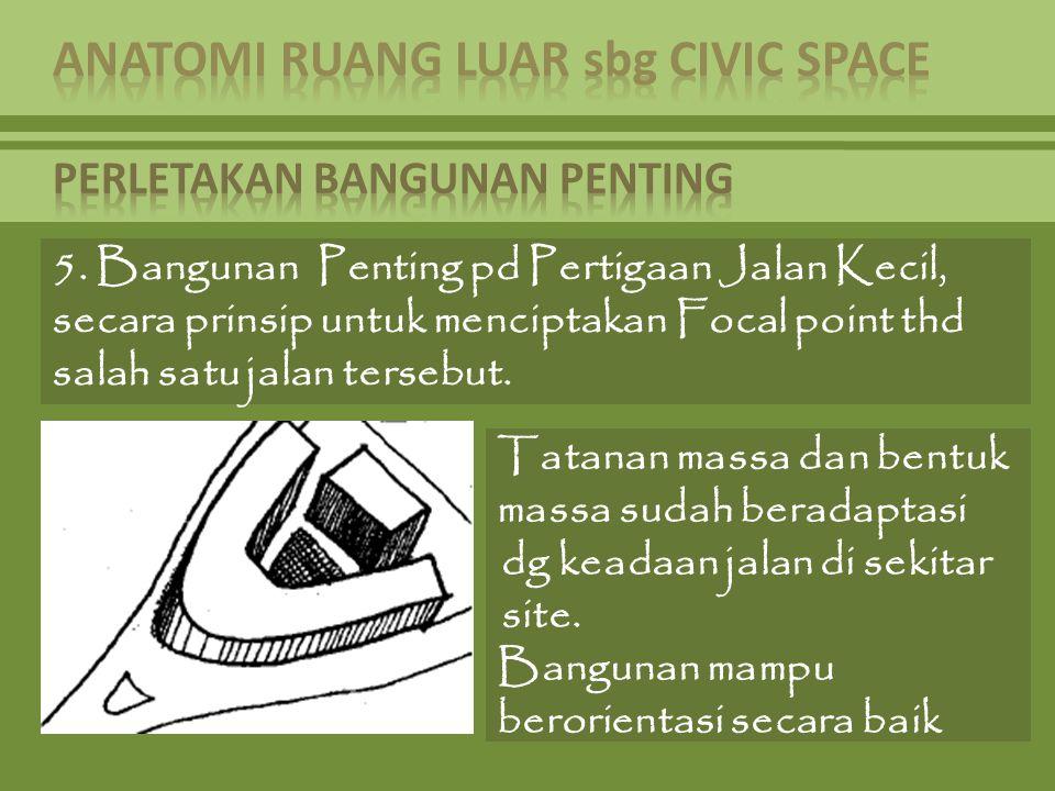 5. Bangunan Penting pd Pertigaan Jalan Kecil, secara prinsip untuk menciptakan Focal point thd salah satu jalan tersebut. Tatanan massa dan bentuk mas