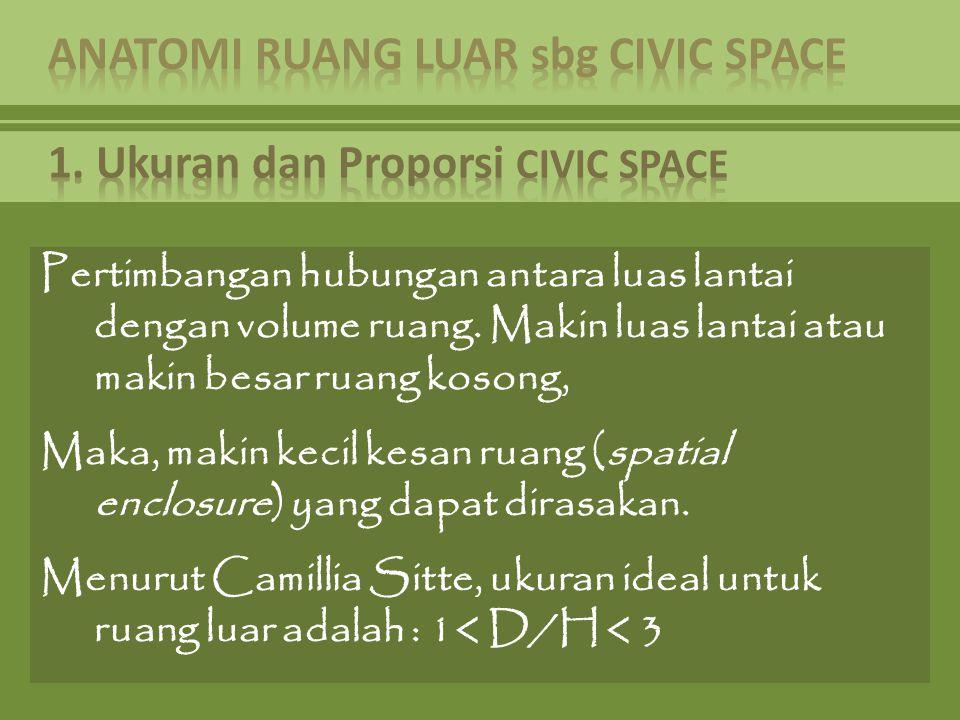 Pertimbangan hubungan antara luas lantai dengan volume ruang. Makin luas lantai atau makin besar ruang kosong, Maka, makin kecil kesan ruang (spatial