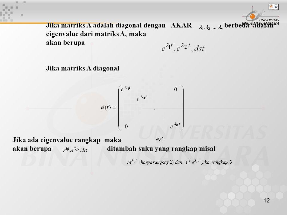 12 Jika matriks A adalah diagonal dengan AKAR berbeda adalah eigenvalue dari matriks A, maka akan berupa Jika matriks A diagonal Jika ada eigenvalue r