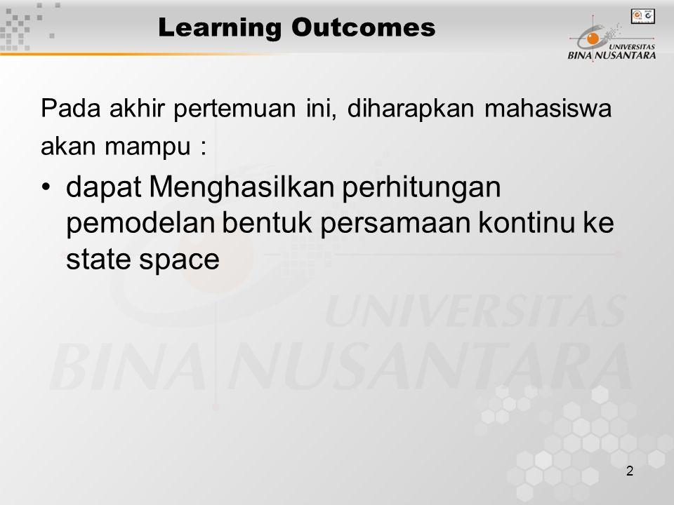 2 Learning Outcomes Pada akhir pertemuan ini, diharapkan mahasiswa akan mampu : dapat Menghasilkan perhitungan pemodelan bentuk persamaan kontinu ke s