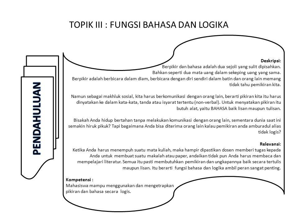 TOPIK III : FUNGSI BAHASA DAN LOGIKA Deskripsi: Berpikir dan bahasa adalah dua sejoli yang sulit dipisahkan.