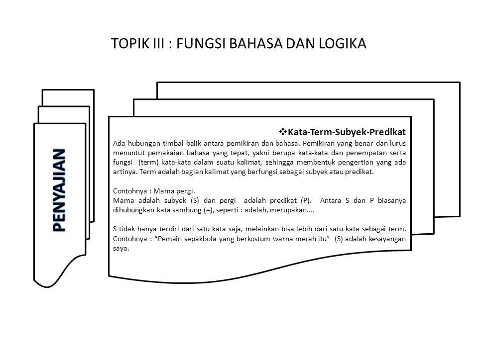 TOPIK III : FUNGSI BAHASA DAN LOGIKA  Isi dan Luas pengertian.