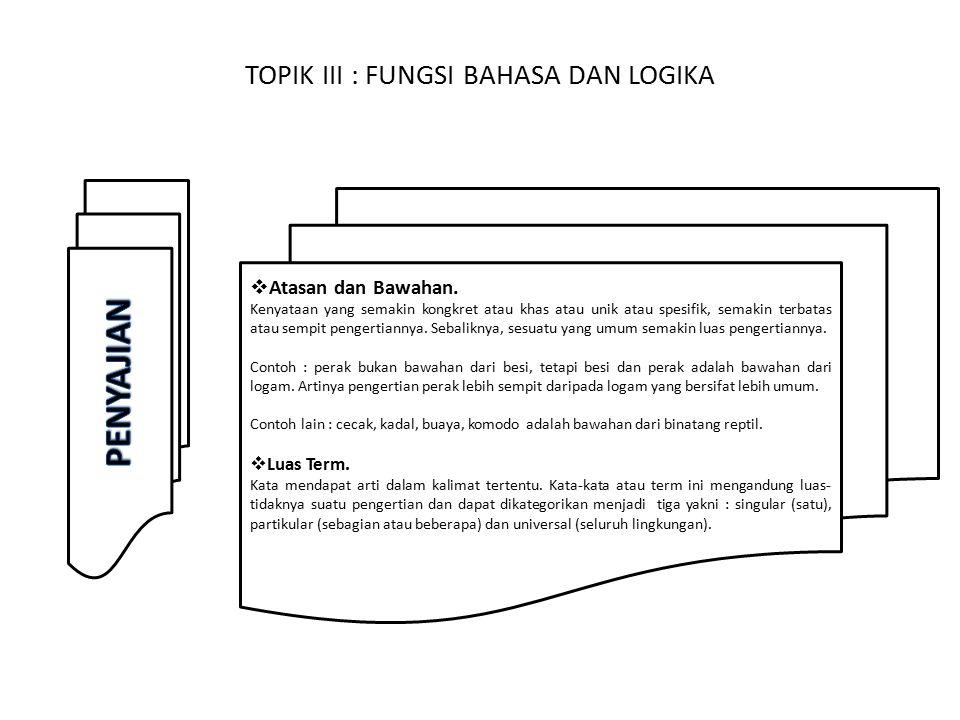TOPIK III : FUNGSI BAHASA DAN LOGIKA  Atasan dan Bawahan.