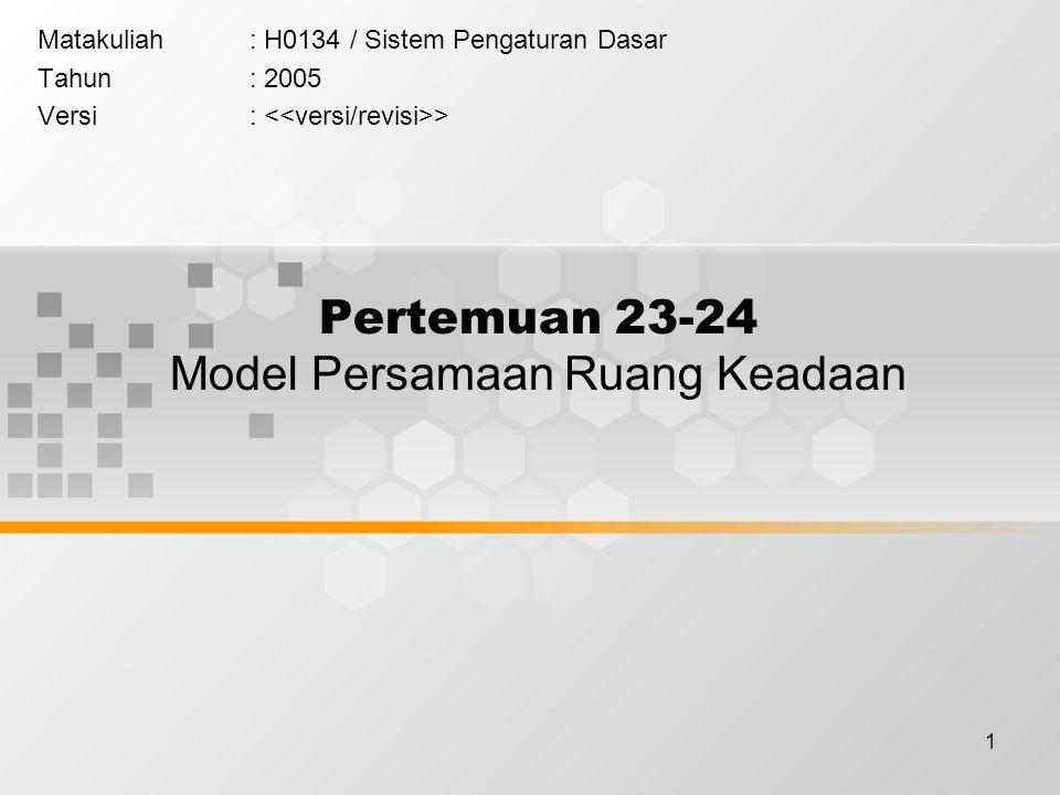 1 Pertemuan 23-24 Model Persamaan Ruang Keadaan Matakuliah: H0134 / Sistem Pengaturan Dasar Tahun: 2005 Versi: >