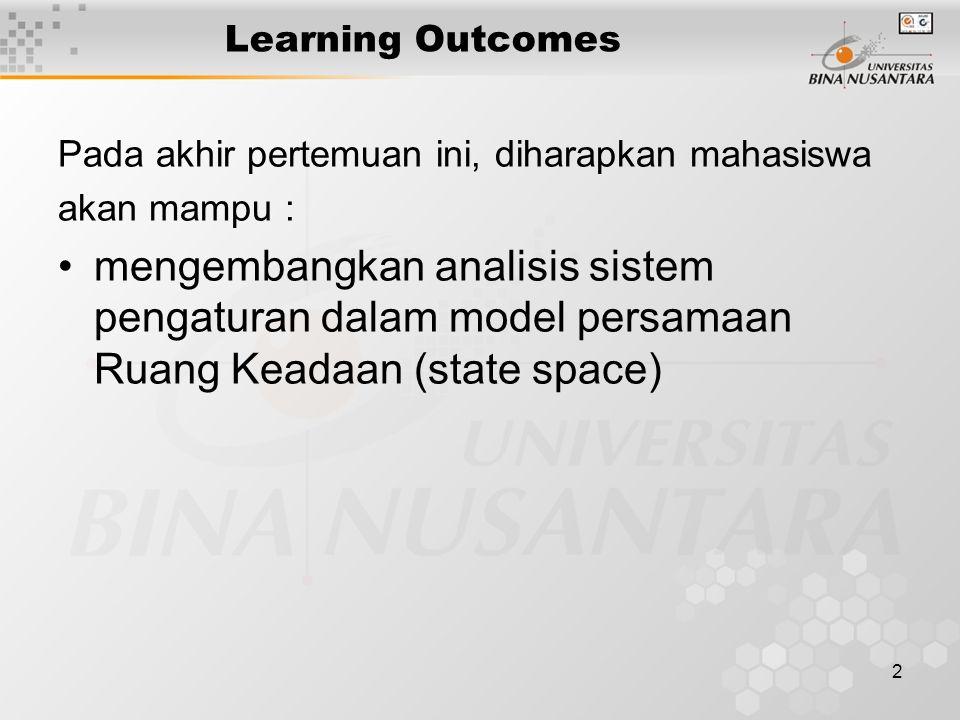 2 Learning Outcomes Pada akhir pertemuan ini, diharapkan mahasiswa akan mampu : mengembangkan analisis sistem pengaturan dalam model persamaan Ruang K