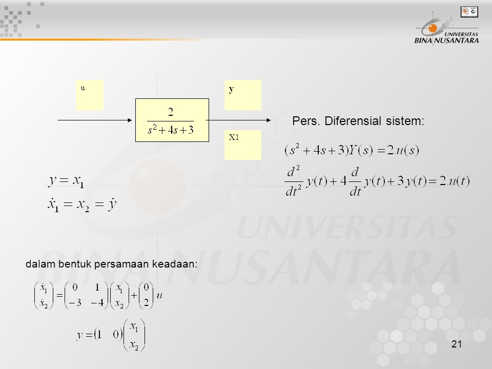 21 dalam bentuk persamaan keadaan: Pers. Diferensial sistem: u y X1