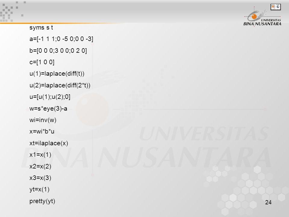 24 syms s t a=[-1 1 1;0 -5 0;0 0 -3] b=[0 0 0;3 0 0;0 2 0] c=[1 0 0] u(1)=laplace(diff(t)) u(2)=laplace(diff(2*t)) u=[u(1);u(2);0] w=s*eye(3)-a wi=inv