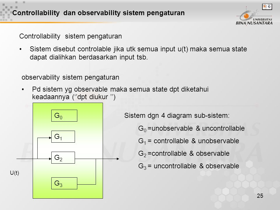 25 Controllability dan observability sistem pengaturan Controllability sistem pengaturan Sistem disebut controlable jika utk semua input u(t) maka semua state dapat dialihkan berdasarkan input tsb.