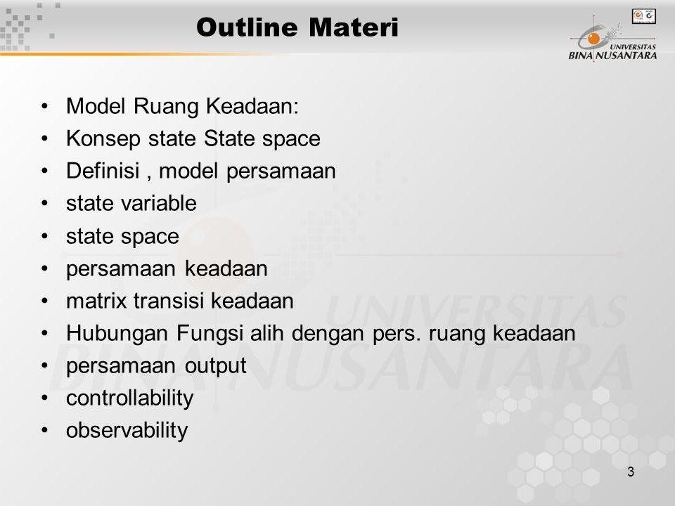 3 Outline Materi Model Ruang Keadaan: Konsep state State space Definisi, model persamaan state variable state space persamaan keadaan matrix transisi