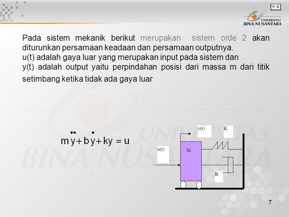 7 Pada sistem mekanik berikut merupakan sistem orde 2 akan diturunkan persamaan keadaan dan persamaan outputnya. u(t) adalah gaya luar yang merupakan