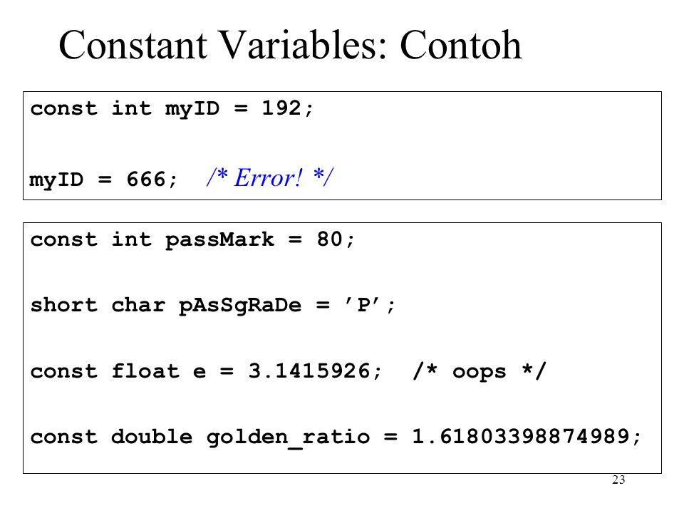 23 Constant Variables: Contoh const int myID = 192; myID = 666; /* Error.