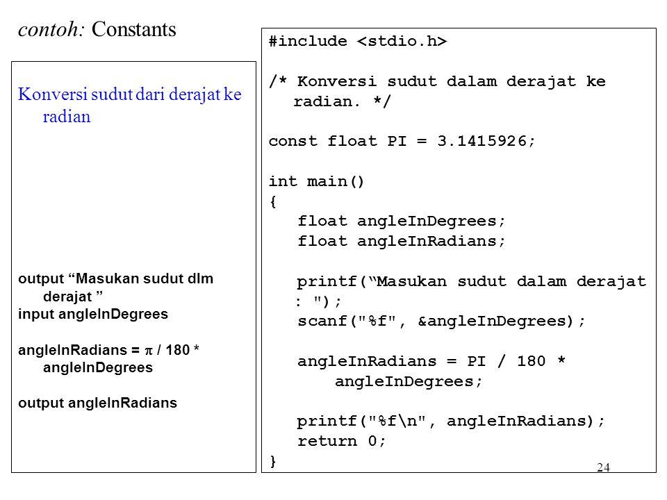 24 Konversi sudut dari derajat ke radian output Masukan sudut dlm derajat input angleInDegrees angleInRadians =  / 180 * angleInDegrees output angleInRadians #include /* Konversi sudut dalam derajat ke radian.