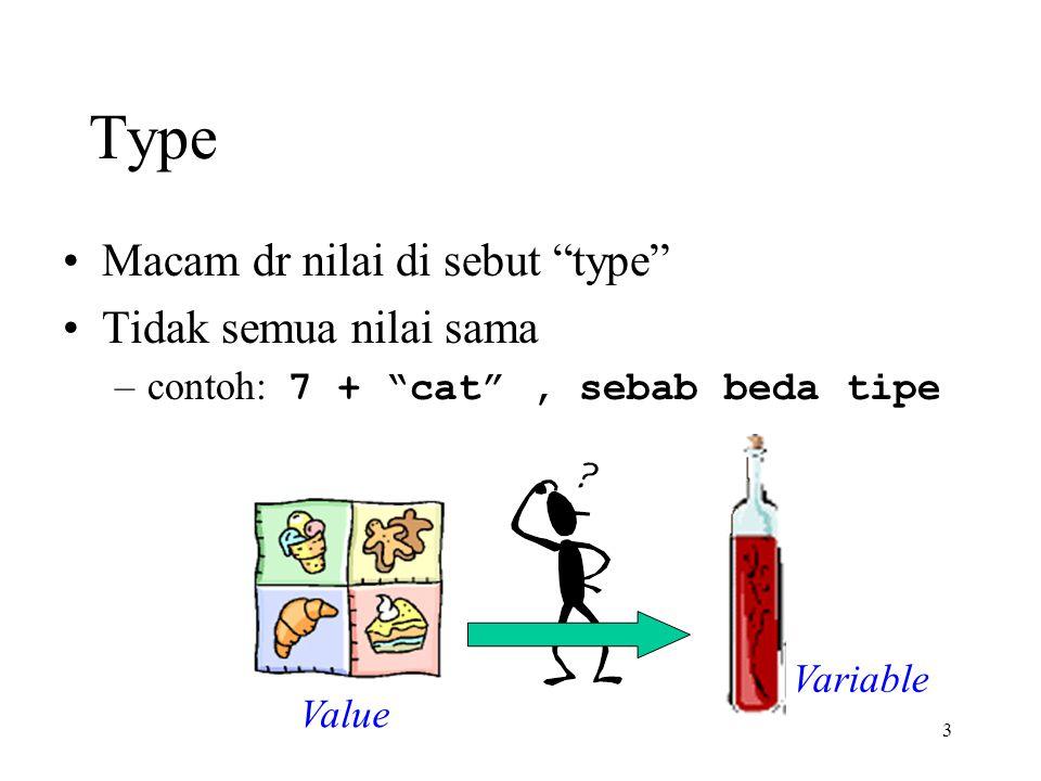 3 Type Macam dr nilai di sebut type Tidak semua nilai sama –contoh: 7 + cat , sebab beda tipe Value Variable