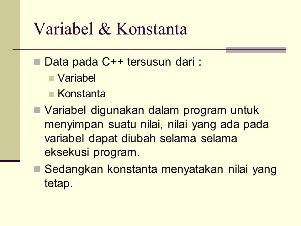 Mendeklarasikan & Mendefinisikan Variabel Bentuk pernyataan yang digunakan untuk pendefinisian variabel : Contoh : Tipe daftar_variabel; int jumlah; float harga_per_unit, total_harga;