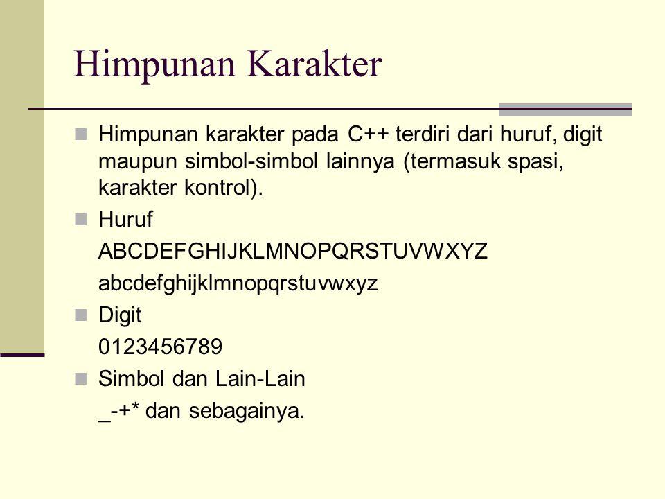 Pengenal (Identifier) Pengenal adalah suatu nama yang biasa dipakai dalam pemrograman untuk menyatakan : Variabel Konstanta bernama Tipe data Fungsi Label Obyek Serta hal-hal lain yang dideklarasikan atau didefinisikan oleh pemrogram.