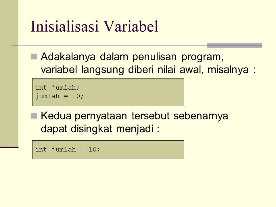 Inisialisasi Variabel Cara seperti diatas sering digunakan dalam pemrograman.