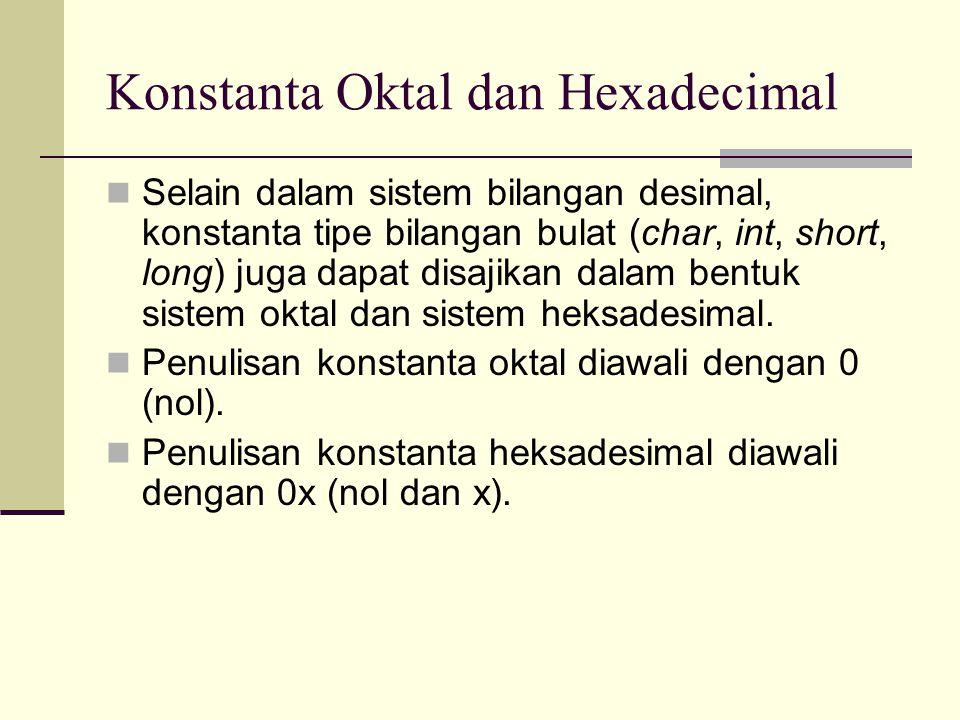 Contoh Program #include void main() { int a, b; a = 010;//10 oktal atau 8 desimal b = 0x10;//10 hexadecimal atau 16 desimal cout<< a = <<a<<endl; cout<< b = <<b<<endl; getch(); }