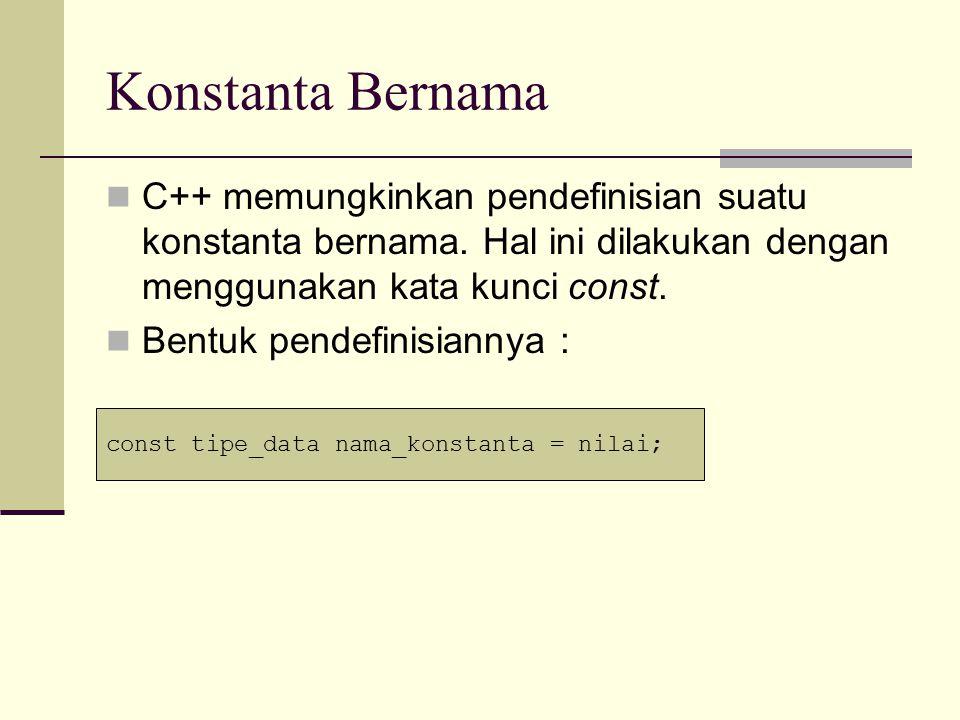 Konstanta Bernama Contoh : Berbeda dengan variabel, suatu konstanta tidak dapat diubah setelah didefinisikan.