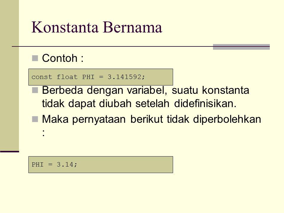 Contoh Program #include void main() { const float PHI = 3.141592; float jari2, luas, keliling; jari2 = 7.0; luas = 0.5 * PHI * jari2 * jari2; keliling = 2 * PHI * jari2; cout<< Luas = <<luas<<endl; cout<< Keliling = <<keliling<<endl; getch(); }