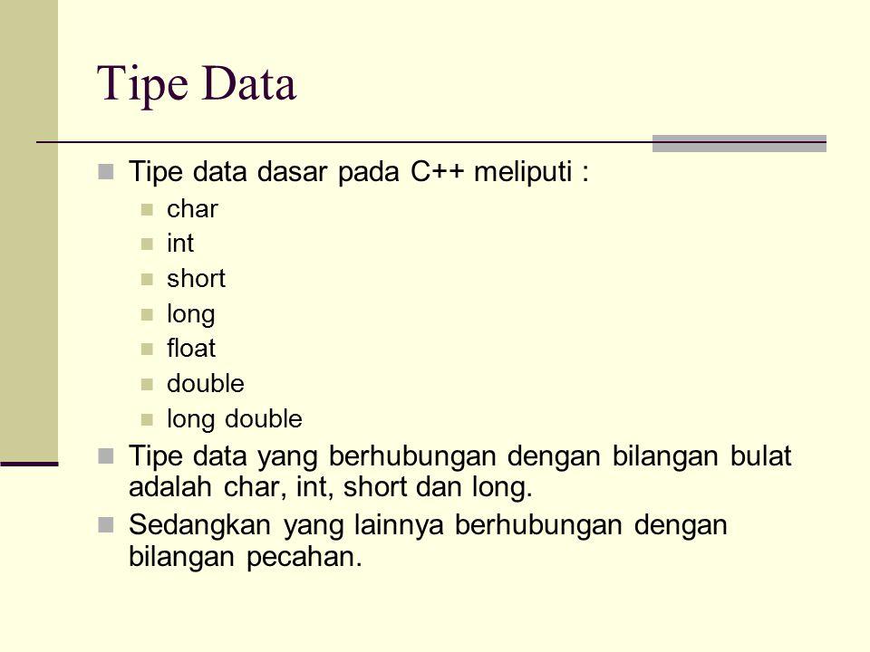 Ukuran Tipe Data Tipe DataUkuran Memori Jangkauan NilaiJumlah Digit Presisi char1 byte-128 hingga +127- int2 byte-32768 hingga +32767- long4 byte-2.147.438.648 hingga 2.147.438.647 - float4 byte3.4 x 10 -38 hingga 3.4 x 10 +38 6-7 double8 byte1.7 x 10 -308 hingga 1.7 x 10 +308 15-16 long double10 byte3.4 x 10 -4932 hingga 1.1 x 10 +4932 19