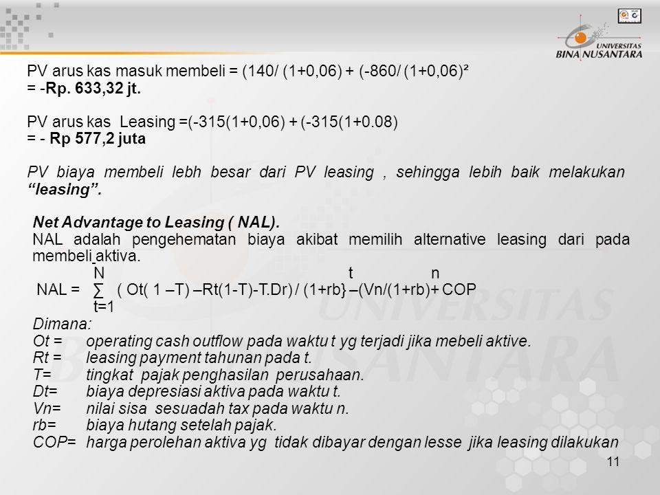 11 PV arus kas masuk membeli = (140/ (1+0,06) + (-860/ (1+0,06)² = -Rp. 633,32 jt. PV arus kas Leasing =(-315(1+0,06) + (-315(1+0.08) = - Rp 577,2 jut