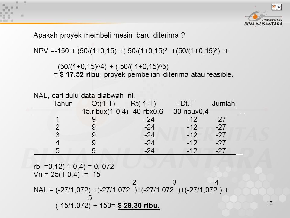 13 Apakah proyek membeli mesin baru diterima ? NPV =-150 + (50/(1+0,15) +( 50/(1+0,15)² +(50/(1+0,15)³) + (50/(1+0,15)^4) + ( 50/( 1+0,15)^5) = $ 17,5