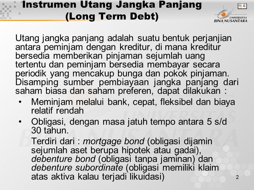 2 Instrumen Utang Jangka Panjang (Long Term Debt) Utang jangka panjang adalah suatu bentuk perjanjian antara peminjam dengan kreditur, di mana kreditu