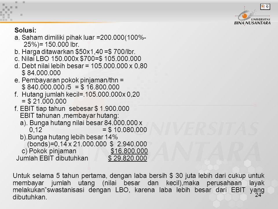 24 Solusi: a. Saham dimiliki pihak luar =200.000(100%- 25%)= 150.000 lbr. b. Harga ditawarkan $50x1,40 =$ 700/lbr. c. Nilai LBO 150.000x $700=$ 105.00